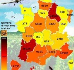 La carte de l'épandage aérien en France