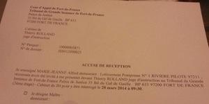 Alfred Marie-Jeanne convoqué par le juge d'instruction du Tribunal de Grande Instance de Fort-de-France en #Martinique