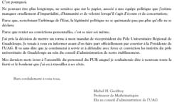 #Université des Antilles : Michel Geoffroy, le vice-président du pôle Guadeloupe signifie sa  démission