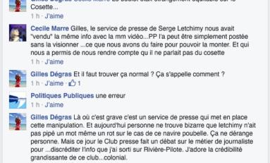 """...le manipulateur service de presse de Serge Letchimy nous avait """"vendu"""" la même info avec la même video...PP l'a peut-être postée sans la visionner..."""