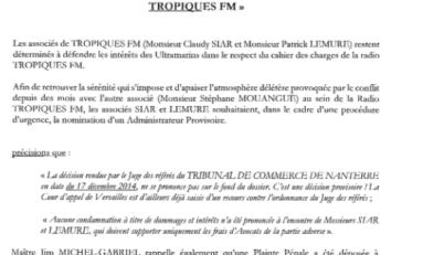 Affaire #TropiquesFm : la réponse de Claudy #Siar