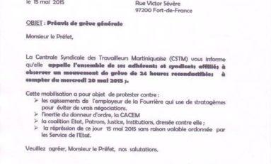 Préavis de grève générale en #Martinique
