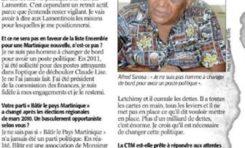 """Alfred Sinosa :  """"...Toute l'économie martiniquaise est entre les mains de Serge Letchimy et il cumule les dettes...Plus d'un milliard de dettes c'est énorme. Je crois qu'il est nécessaire de changer cette politique."""""""