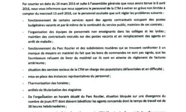 #CTM : Appels à la grève générale