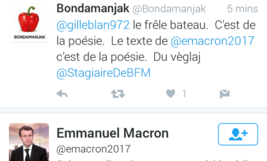 Emmanuel Macron like un tweet de Bondamanjak