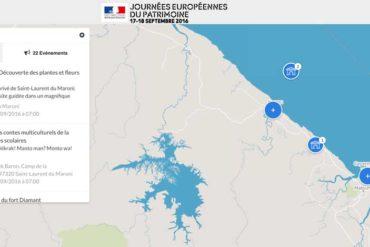 Journées Européennes du Patrimoine : la Guyane. (Carte)