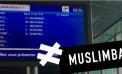 Liste de voyageurs  affichée sur les panneaux de l'aéroport: #muslimban
