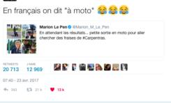 """Marion Le pen a fait une chute """"en moto"""" ? Non en français"""