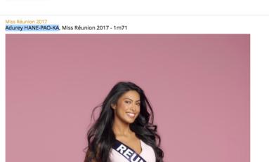 Miss France 2018...quand le site de TF1 charcute le nom de Audrey Chane Pao Kan la Miss Réunion 2017