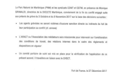 Fin de la grève au Parc Naturel de Martinique (PNM)