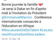 Le tweet du jour 03/02/18 - Claudy Siar -Dakar- Emmanuel Macron-Sénégal- Afrique
