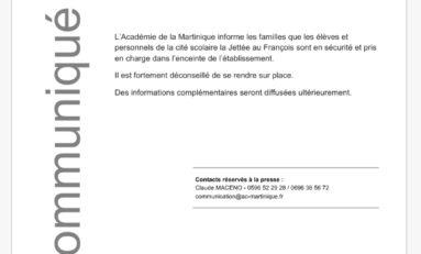 Intempéries en Martinique : Prise en charge de la communauté de la cité scolaire la jettée au François.