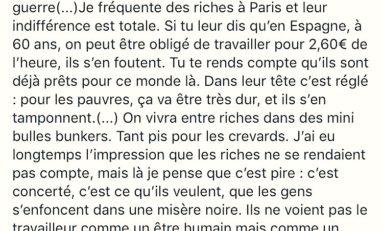 """""""Les riches voient les pauvres comme un problème à gérer""""... L'Europe va mal en ce moment..."""