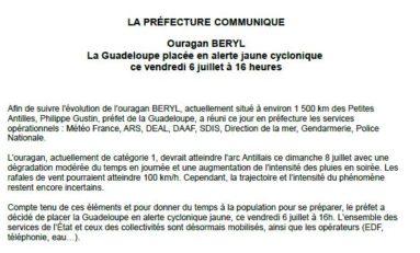 Béryl, la préfecture de la Guadeloupe communique