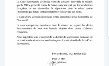 La Cour Européenne de Justice déclare recevable le recours des nègres du MIR...Antoine Crozat et Colbert ne vont pas prendre la blague