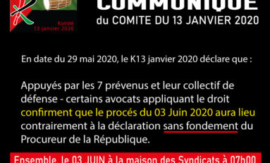 Martinique : communiqué du Comité du 13 janvier 2020