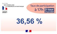 2 ème tour élections Collectivité Territoriale de Martinique. Taux de participation à 17 heures